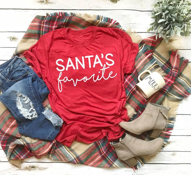 Santa's Favorite Shirt – Christmas themed Outfit Ideas – Holiday Themed Casual shirts – Cold Weather Outfit Ideas – ROX the gift that gives back™ – Gift Ideas for Her Under $25