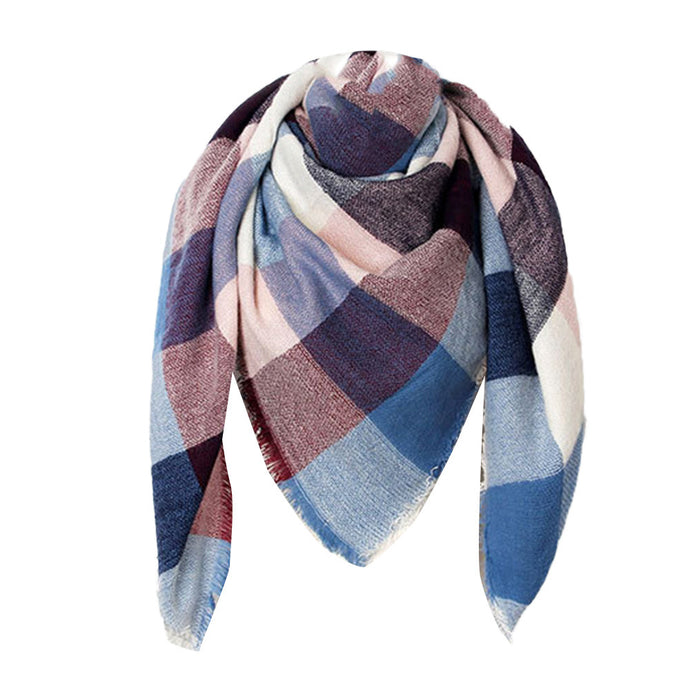 Blue and Red Plaid Blanket Scarf– Plaid Print Accessories – Gifts that Give Back – ROX Winter Accessories for Her – Gift Ideas for Her this Holiday Season