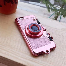 Rose Gold Phone Case Shaped like a Camera with Glitter – On Trend Phone Cases – iPhone xr x xs phone case – Fashionable iPhone cases for her that give back to charity – Under $25 Gift Ideas