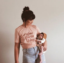 Raise Them Kind Pink Retro Shirt – Gifts for Moms – Apparel that Gives Back to Charity by ROX Shirts in Kindness Collection – Positive Apparel – Casual Outfit Ideas