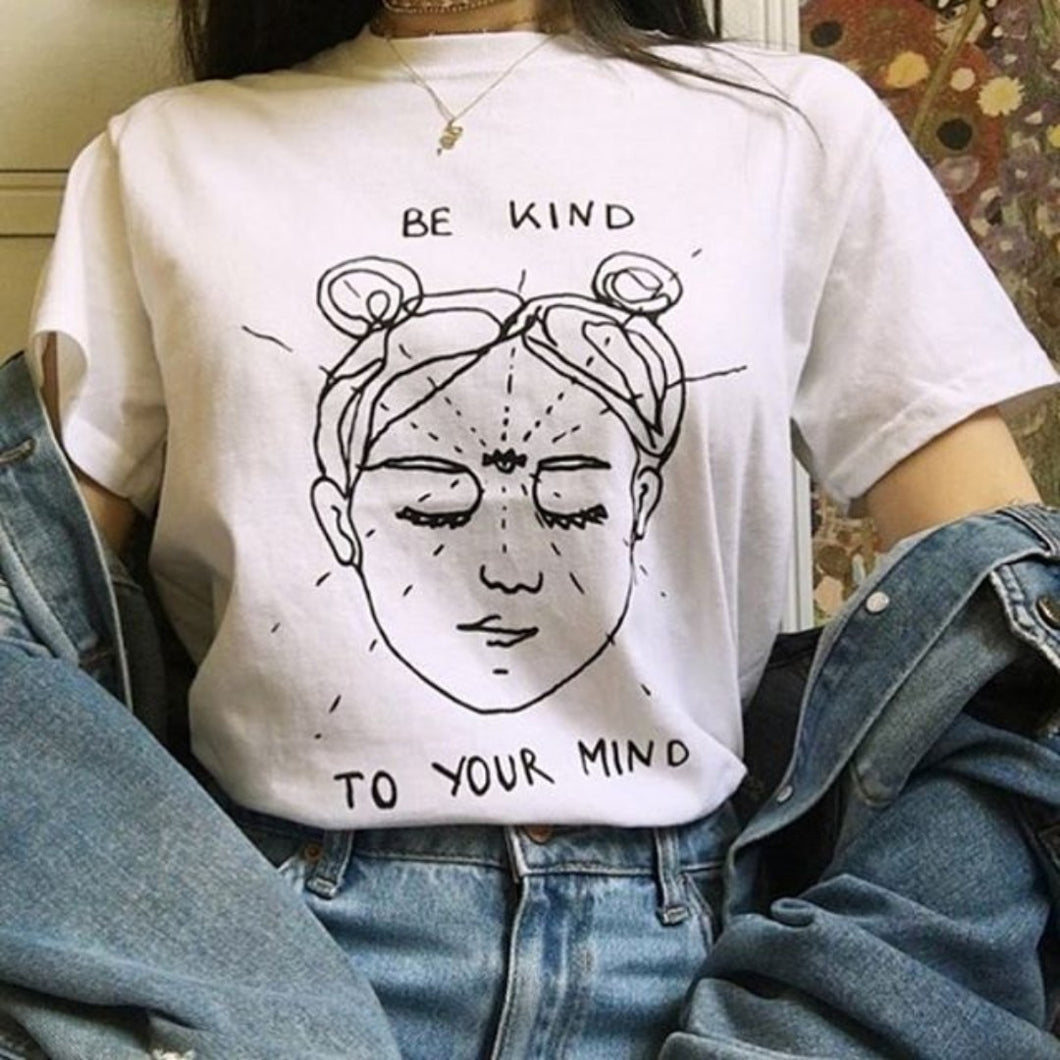 Be Kind to Your Mind Shirt in White – Apparel that Gives Back to Charity by ROX Shirts in Kindness Collection – Positive Apparel – Casual Outfit Ideas – Self Care
