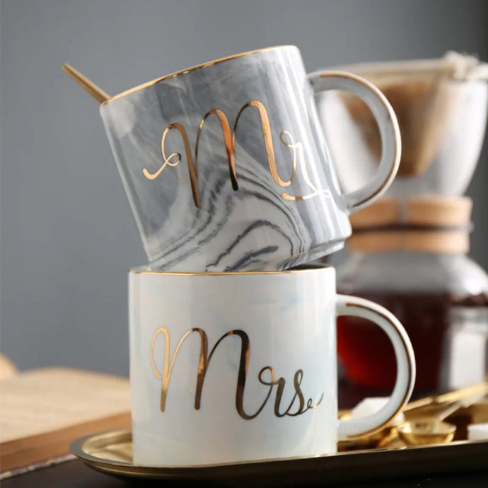 Mr. & Mrs. Marble Coffee Mugs That give back to charity – Great wedding gift ideas under $50 – ROX the gift that gives back™
