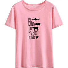 Be Kind to Every Kind Shirt in Pink – Kind Shirt – Apparel that Gives Back to Charity by ROX Shirts in Kindness Collection – Positive Apparel – Casual Outfit Ideas – Vegan Gift Ideas