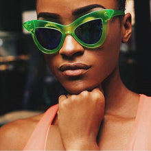 Chiara Bold Cat Eye Sunglasses that Give Back to Charity by ROX in Green – Trendy and Affordable Sunnies that Give back