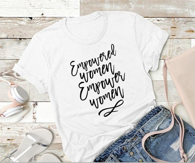 Empowered Women Empower Women Shirt in White that Gives Back to Charity – Feminist Gift – Gifts that Empower Women – ROX Apparel for Her Under $25 – the gift that gives back™