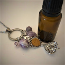 Lilac Jasper, Crystal Amethyst, Charoite and Swarovski Crystal Essential Oil Diffusing Necklace
