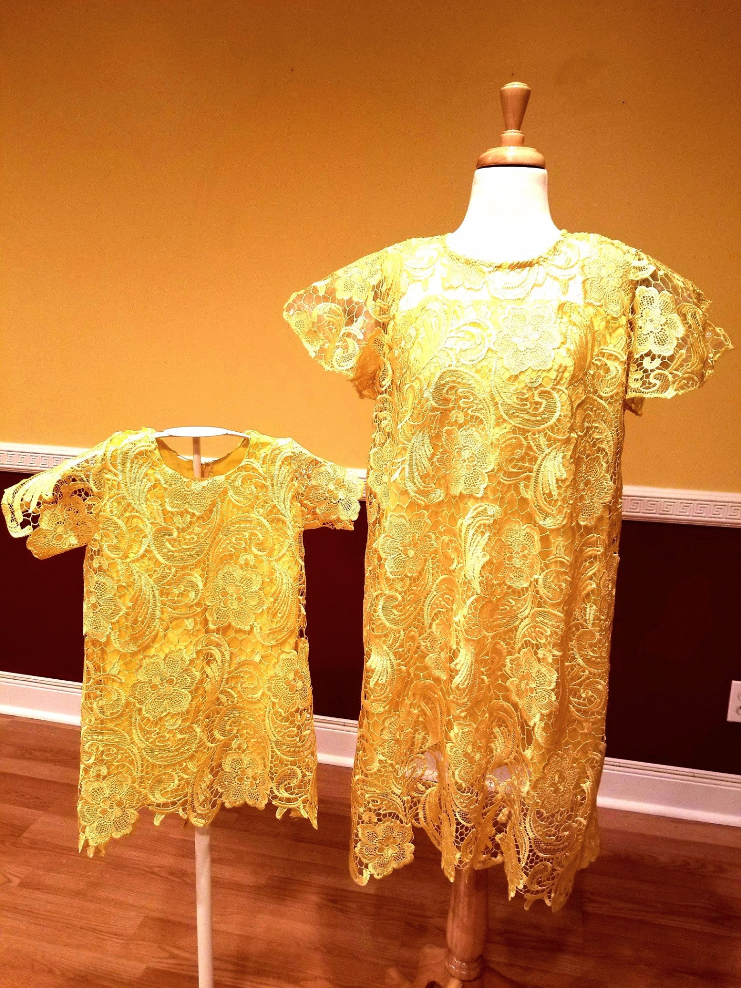 Valentina lace dress - Girls (Yellow)