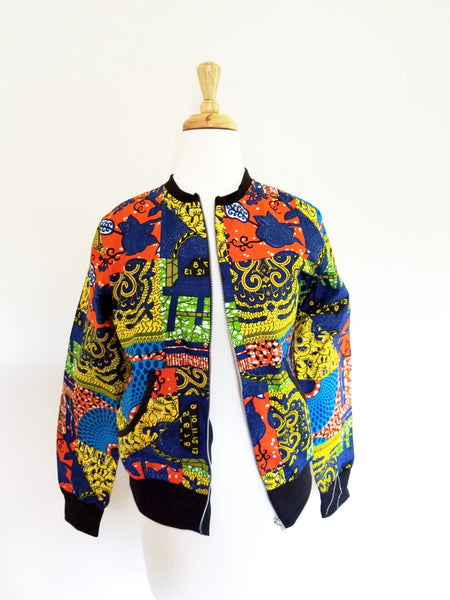 NANA Multi color ankara bomber jacket