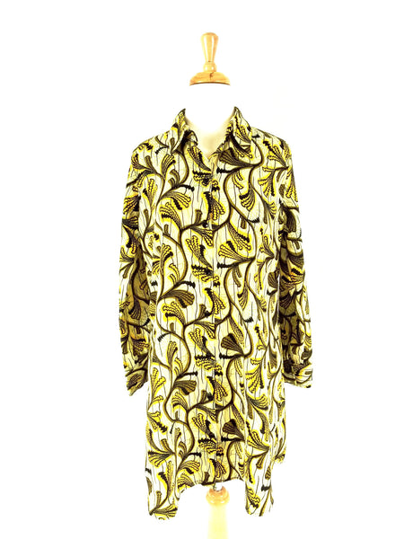 ADA Ankara silk shirt dress (cream with yellow vines)