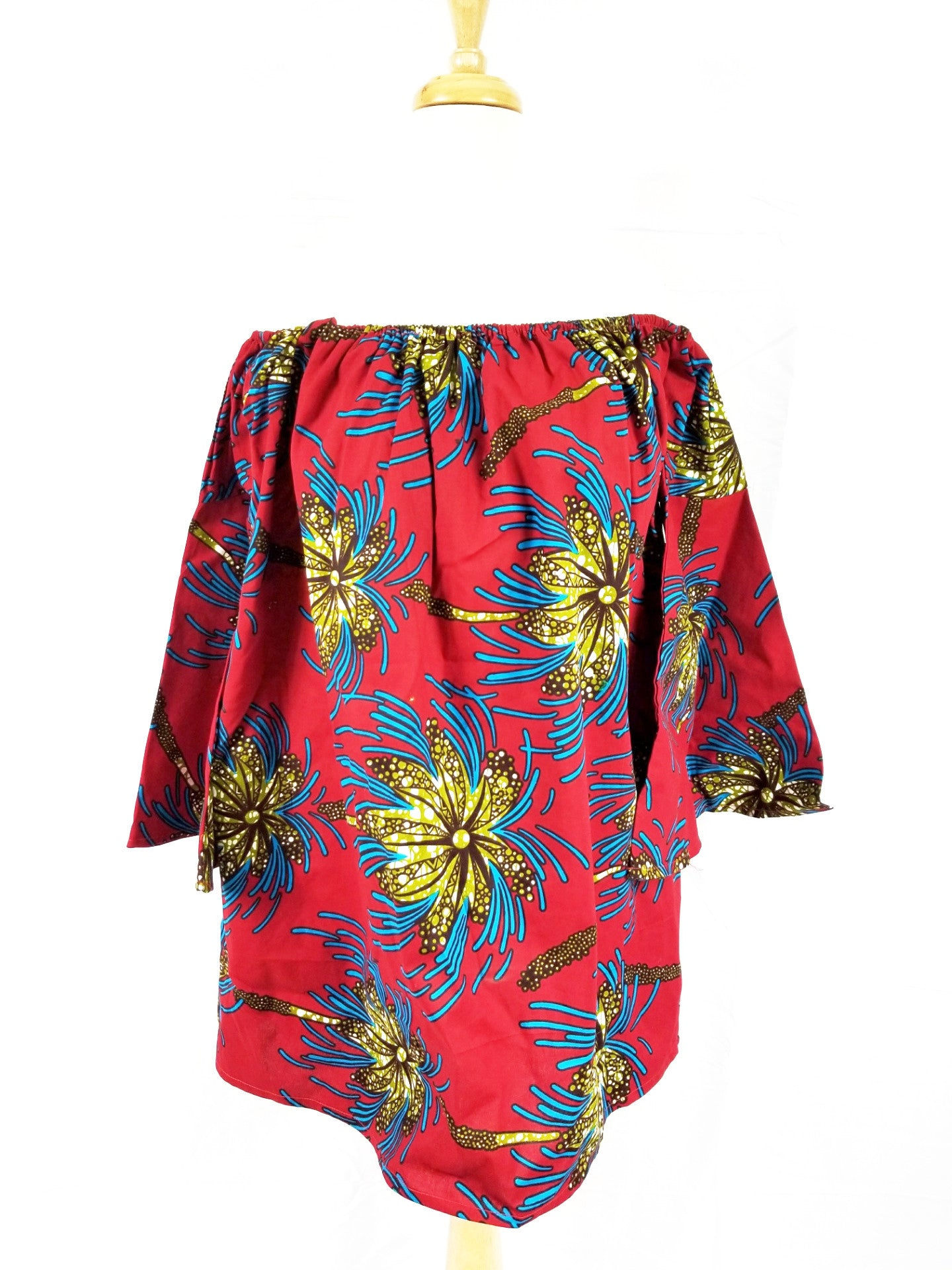 NKEM ankara off-shoulder flare tunic (red with fireworks)