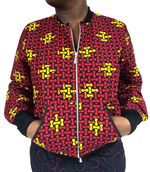NANA Red and yellow Ankara bomber Jacket