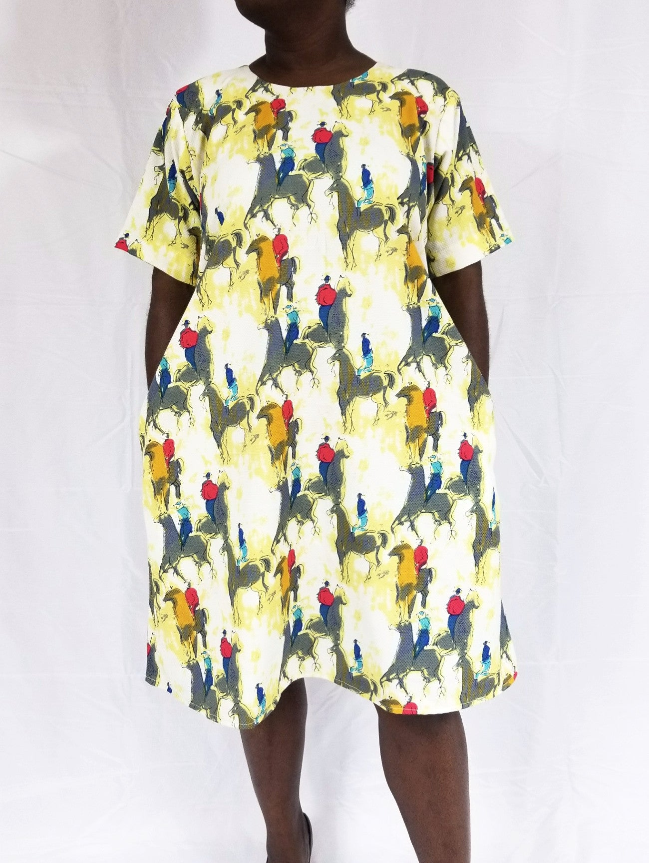BELLA shift dress (Horsemen watercolor)