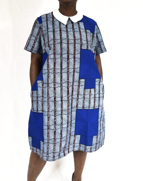 BELLA Peter Pan collar ANKARA Shift dress (Blue and brown)