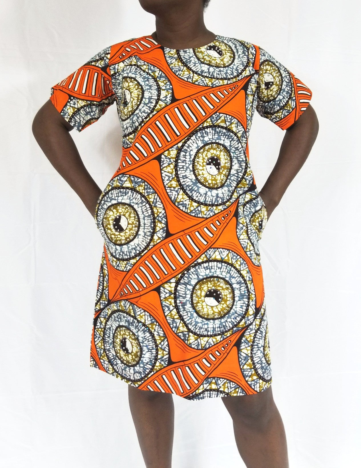 BELLA ANKARA shift dress (Orange with full rhinestones)