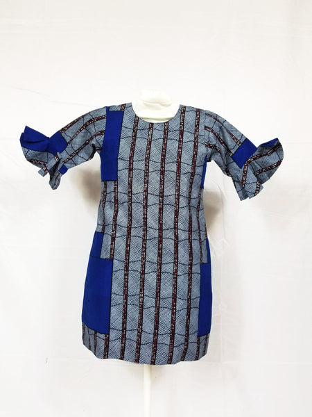 TANI ankara girl's shift dress with 3/4 sleeve - Grey and blue