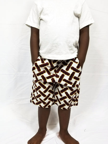 BADA Ankara Bermuda shorts - White with burgundy peapods - Boys
