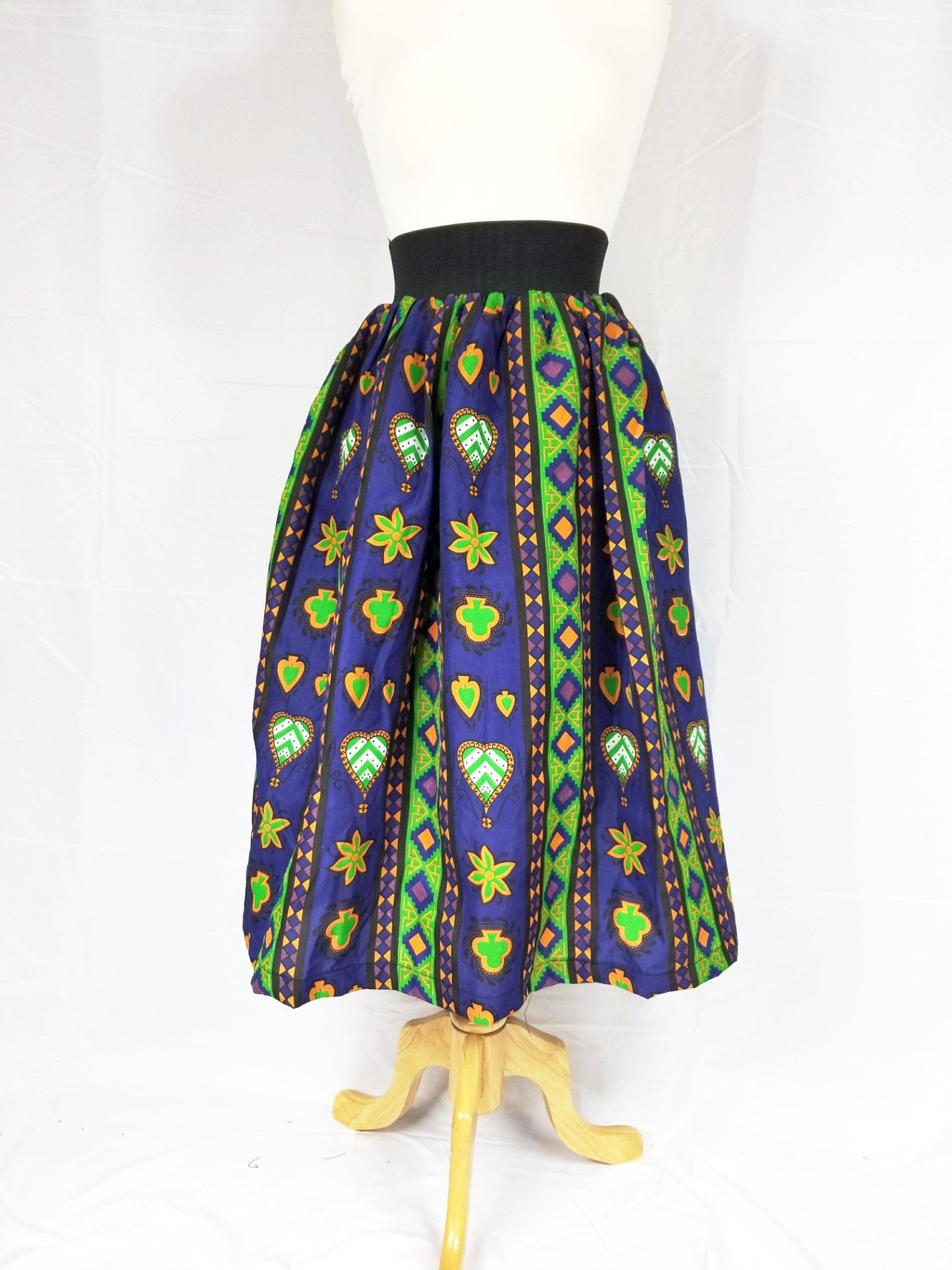 DUPE Ankara silk tea-length skirt (Purple aztec)
