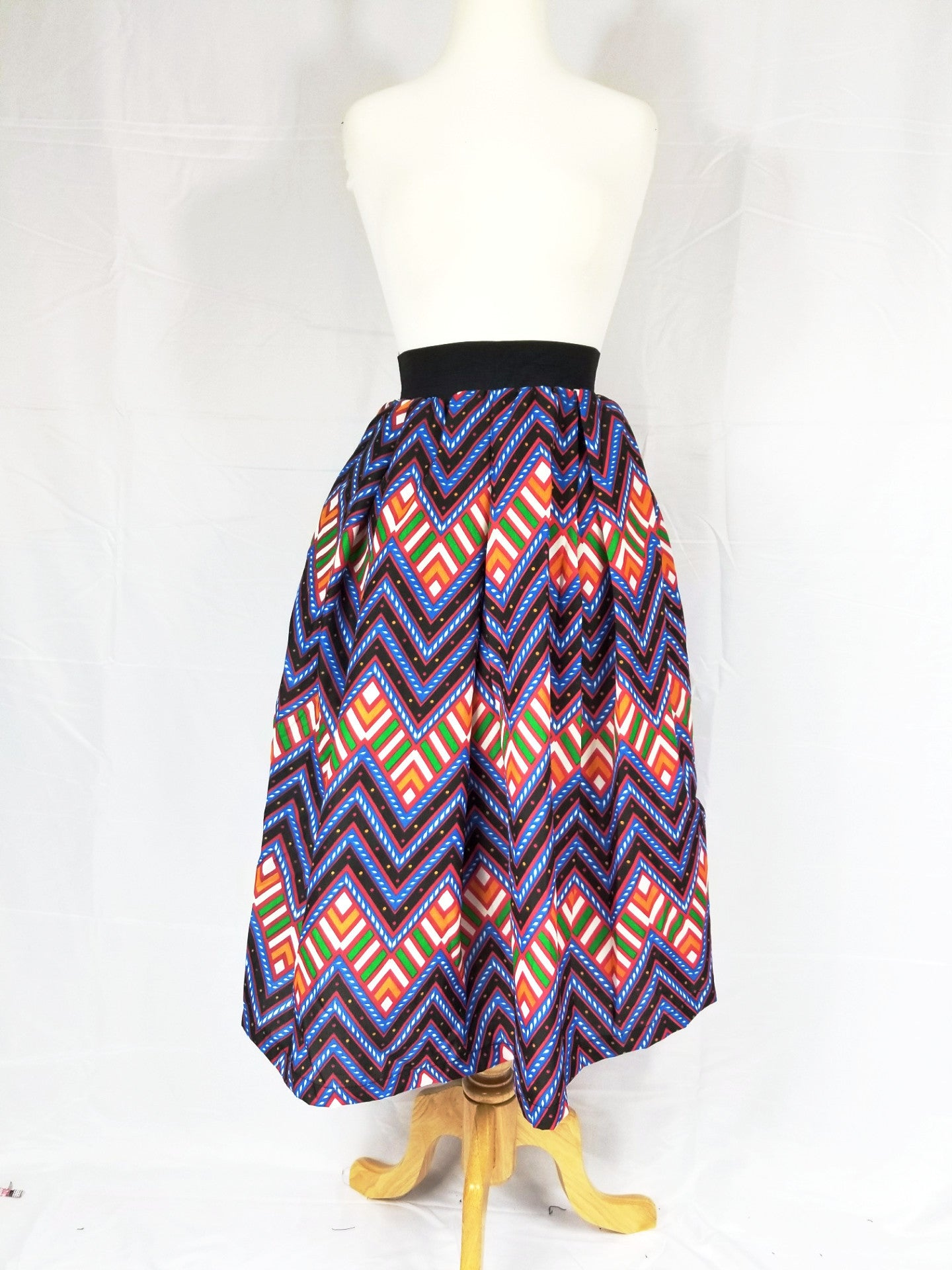 DUPE Ankara silk tea-length skirt - Multi zig-zag
