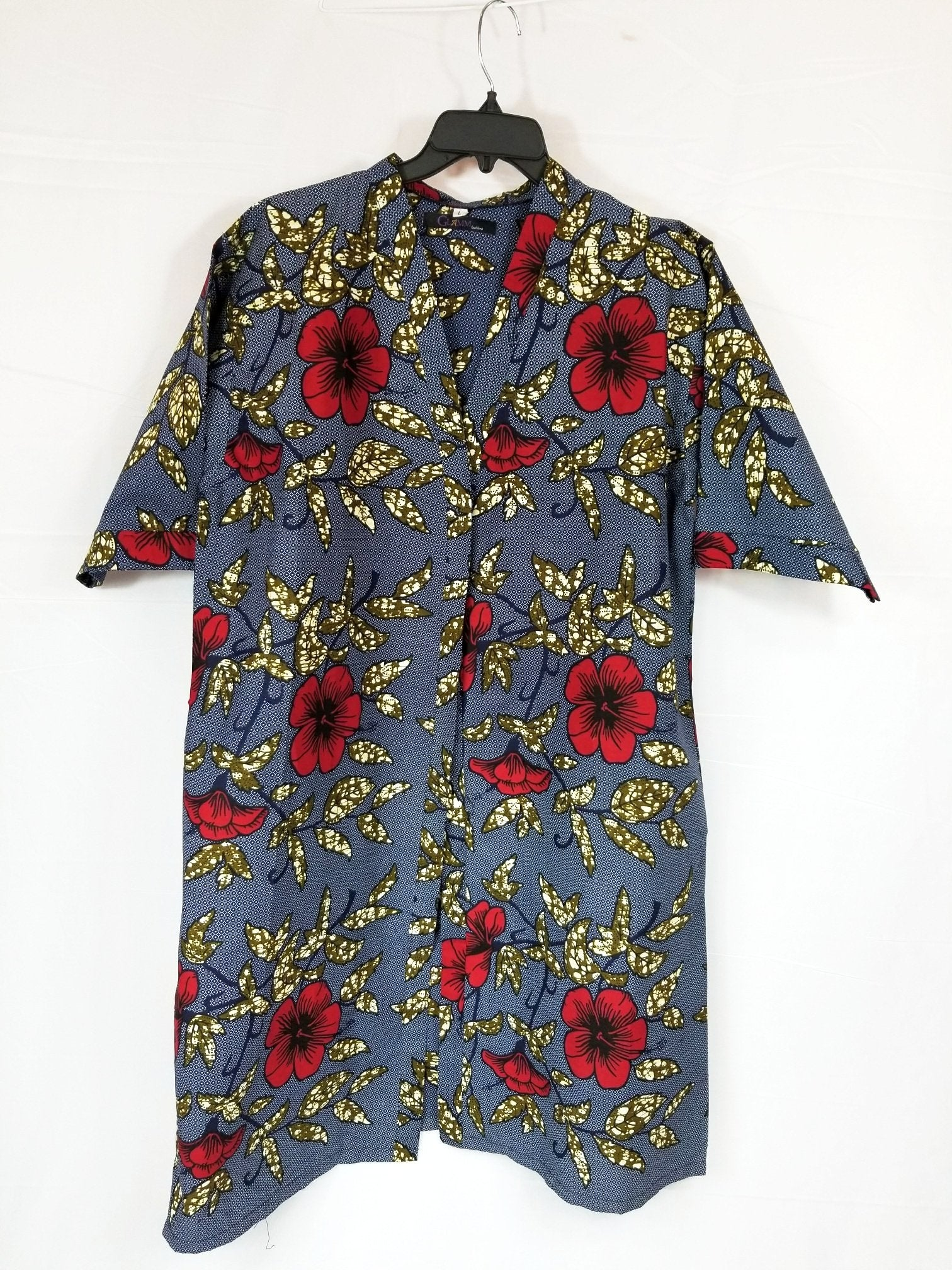FARA ANKARA Kimono Style coat (Blue with red and brown flowers)