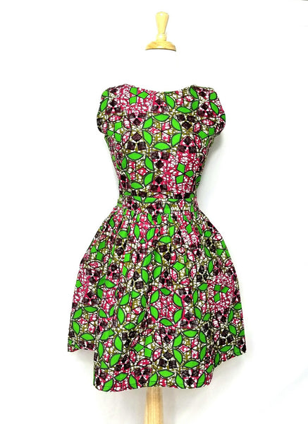 MINA-Fit and flare sleeveless dress (Green and pink kaledoscopes)
