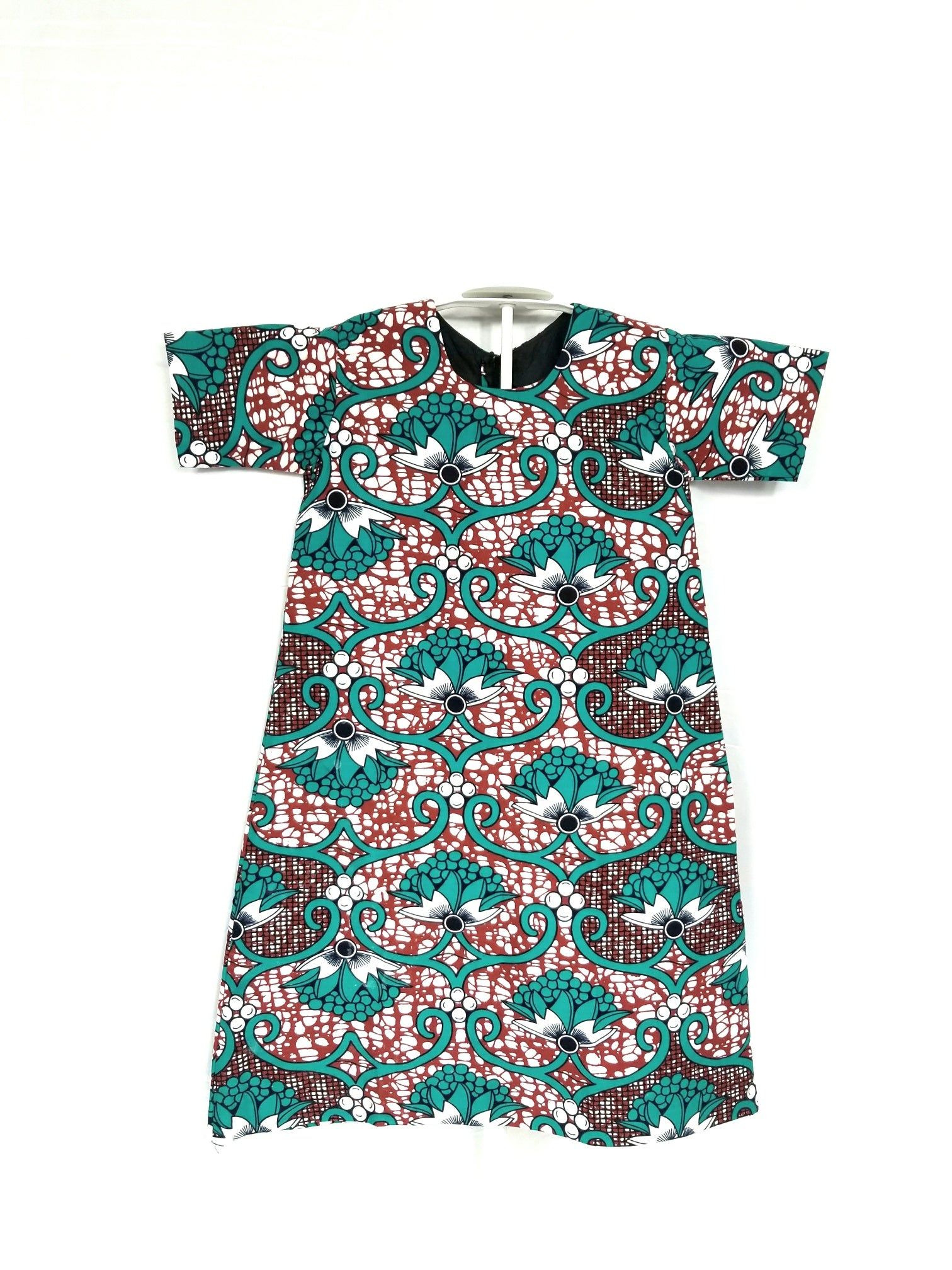 TANI ankara girl's shift dress with 3/4 sleeve (Green and brown vines)