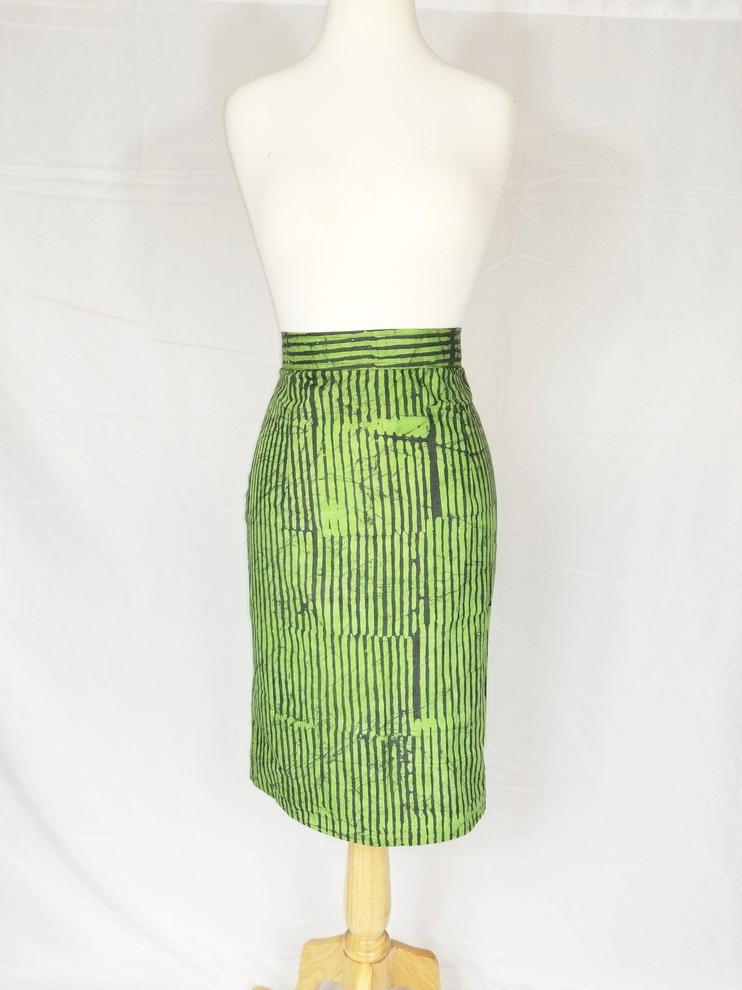 NYA Batik Pencil skirt - Green and grey