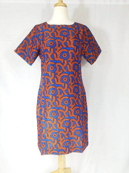 BELLA shift dress (Orange and blue print - silk)
