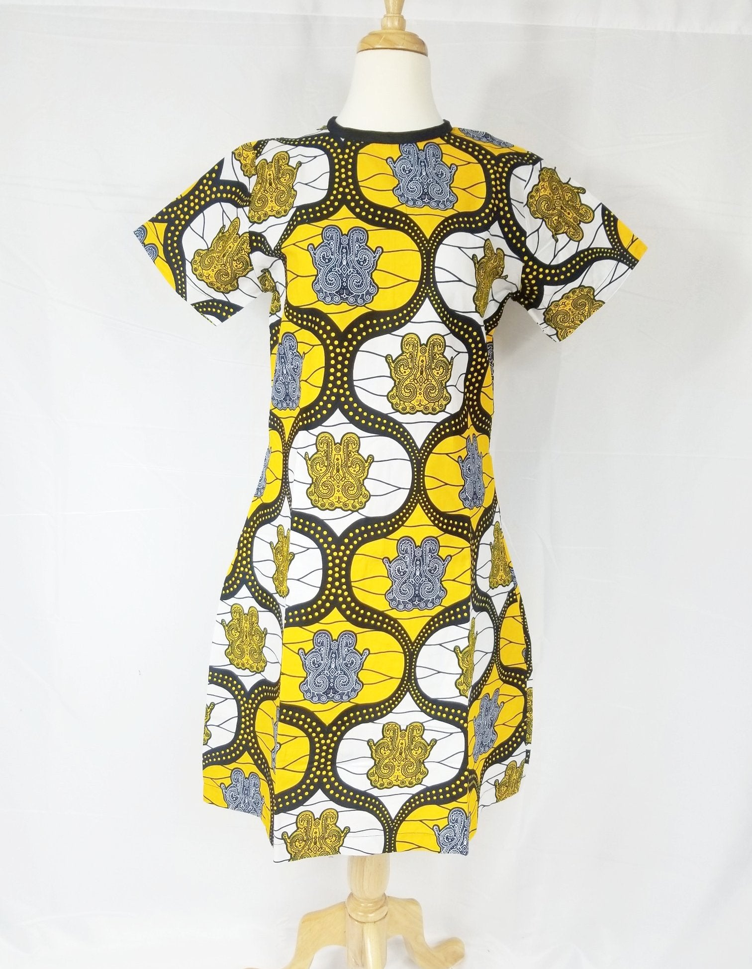BELLA ANKARA shift dress (Yellow and white)