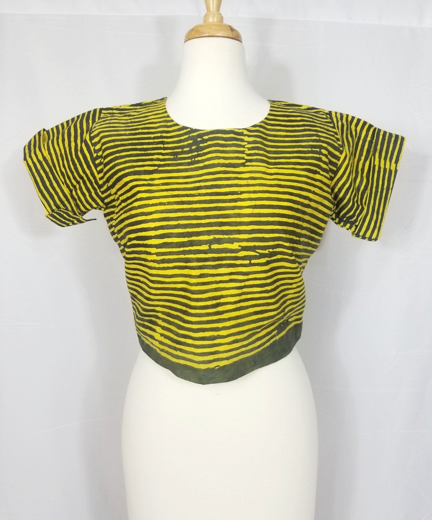 TIA Crop top (Yellow and and army green batik)