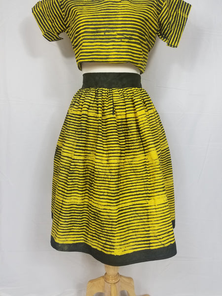 OLA african batik knee-length skirt (Yellow with green stripes)