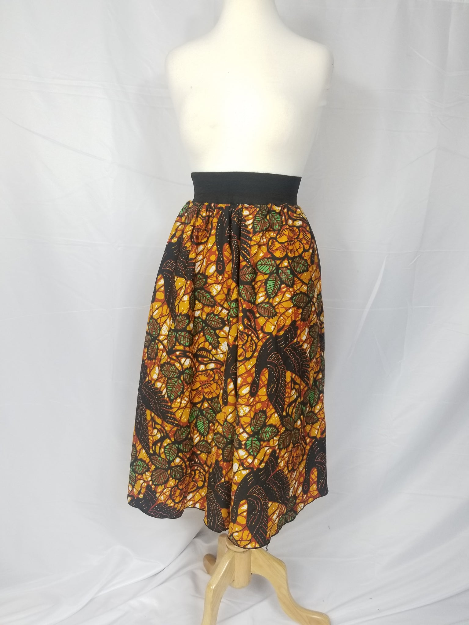 DUPE african print silk midi-length skirt (brown and green)
