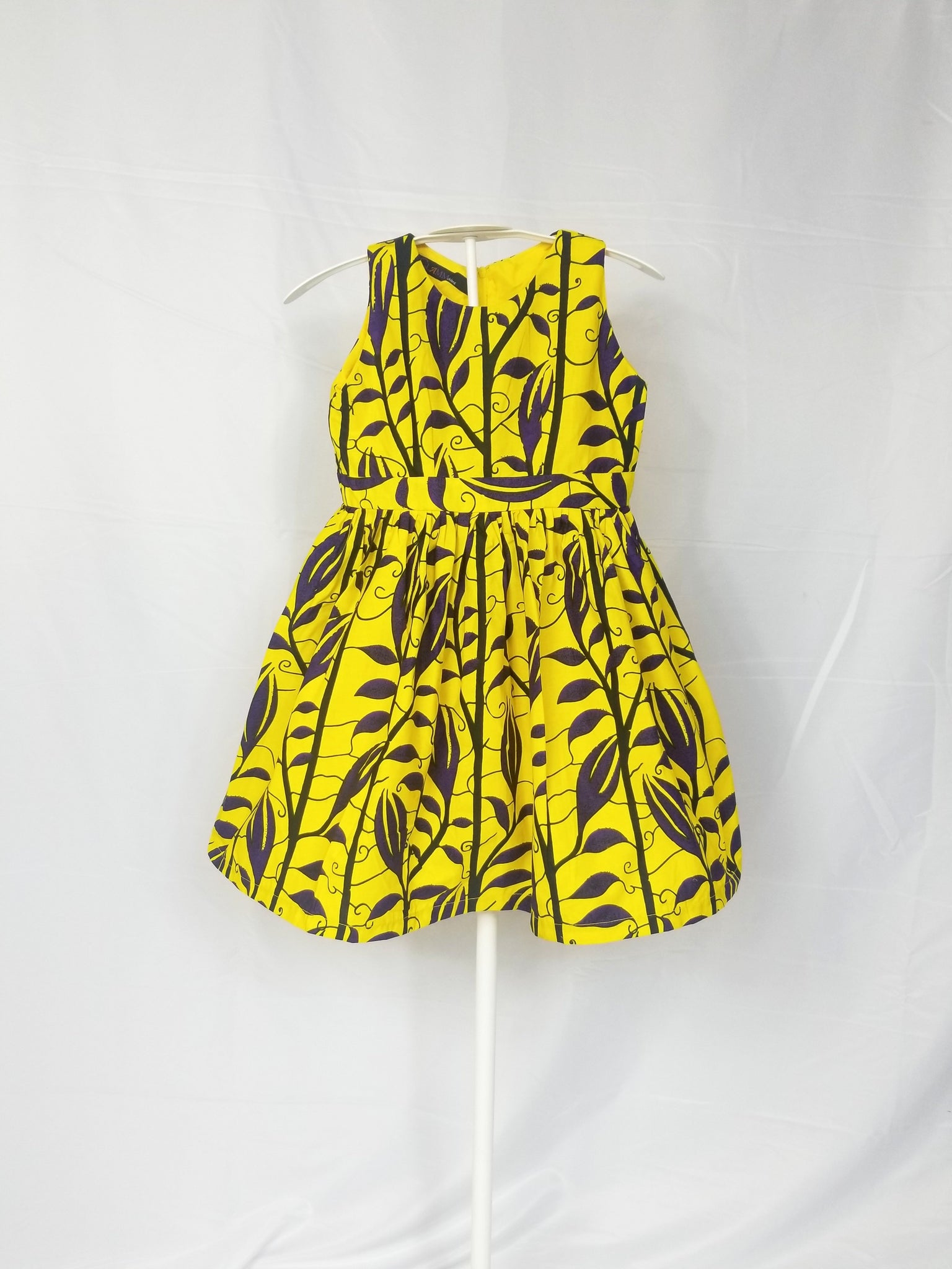 MINA-Kid Fit and flare sleeveless dress (Yellow and blue vines)