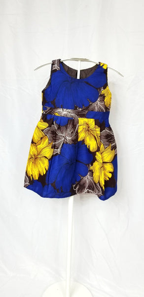 MINA-Kid Fit and flare sleeveless dress (Blue and yellow petals)