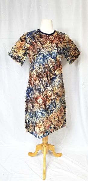 BELLA batik shift dress (Blue, red, and brown)