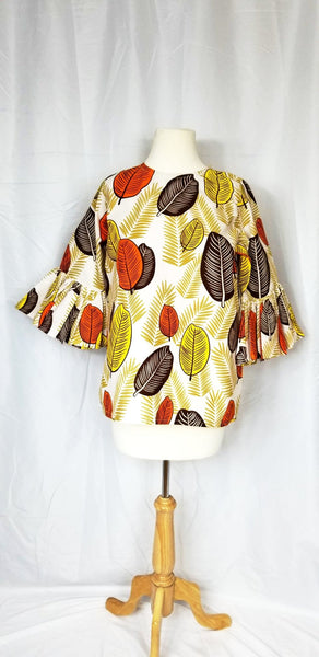 OYIN Ankara blouse with trumpet sleeves (White with fall leaves)