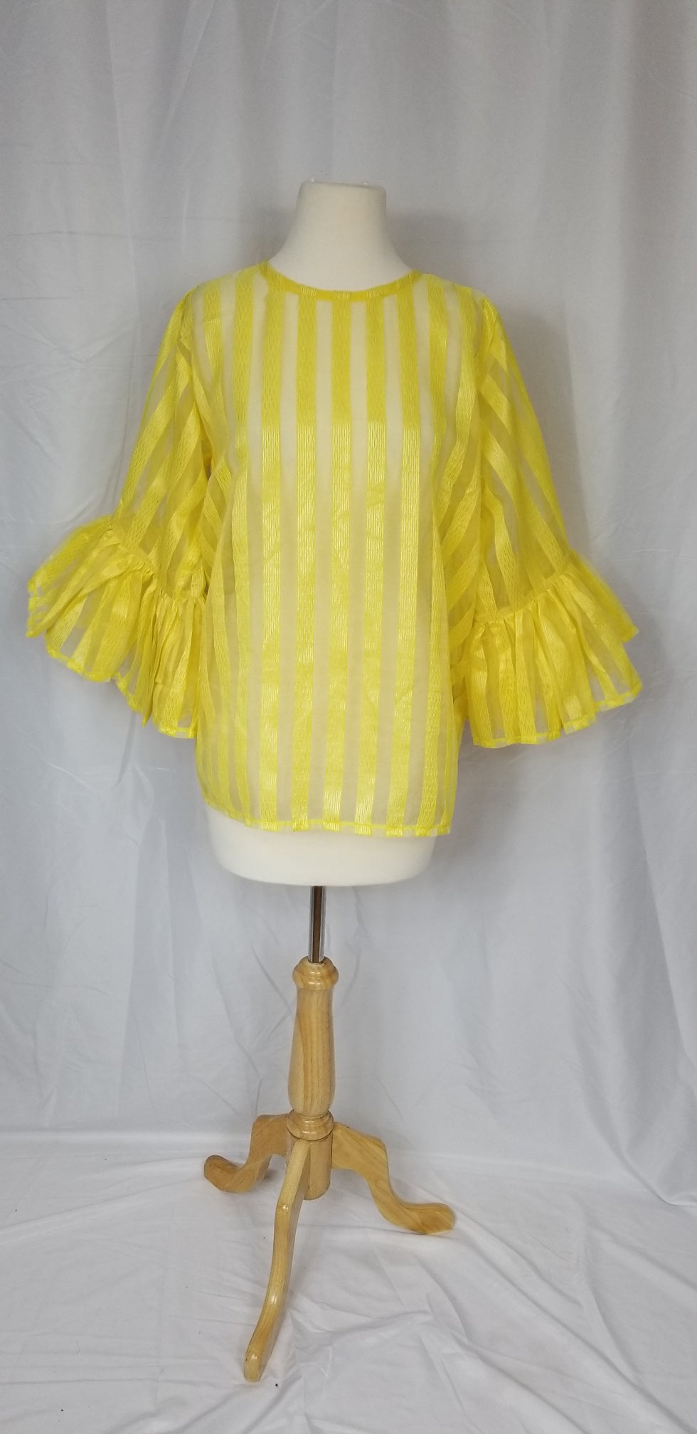 OYIN organza blouse with trumpet sleeves