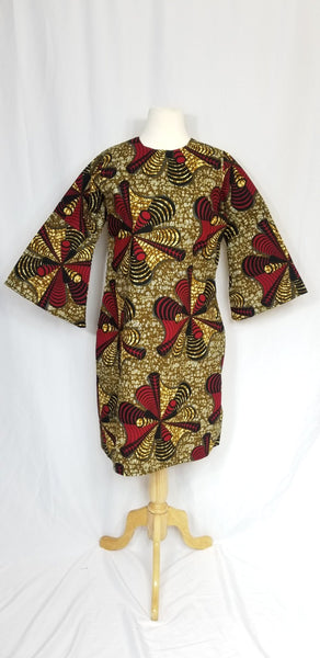 BELLA ANKARA A-Line shift dress with bell sleeves (Brown and red)