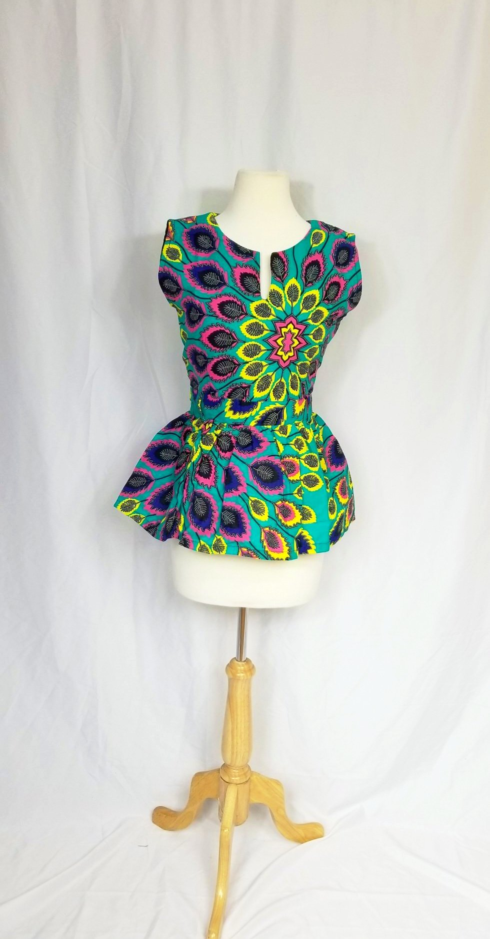 Peplum top (Torquoise peacock design)