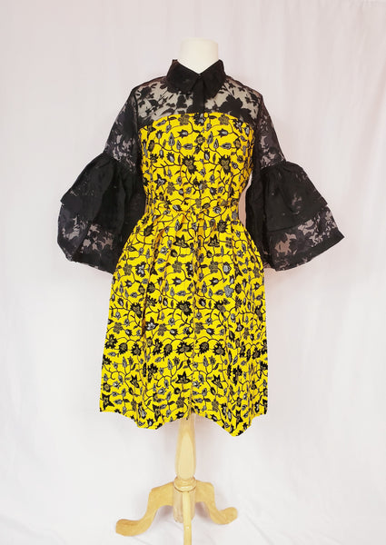 Ejiro Organza sleeve ankara dress with belt (Yellow and black)