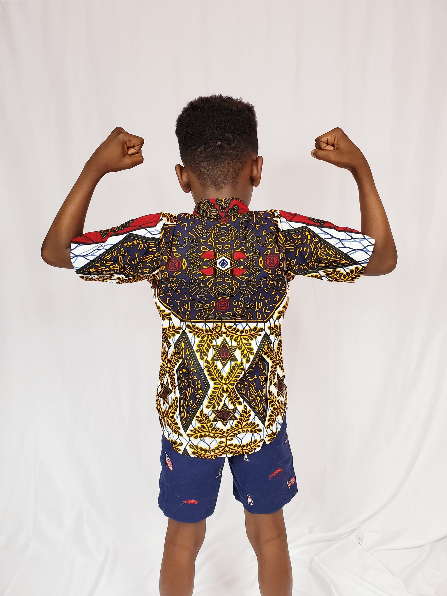 BOJ - Boy's ankara shirt (Red and brown)