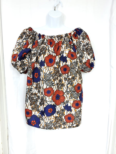 AMA Ankara silk off shoulder long top/tunic (Cream with red and blue)