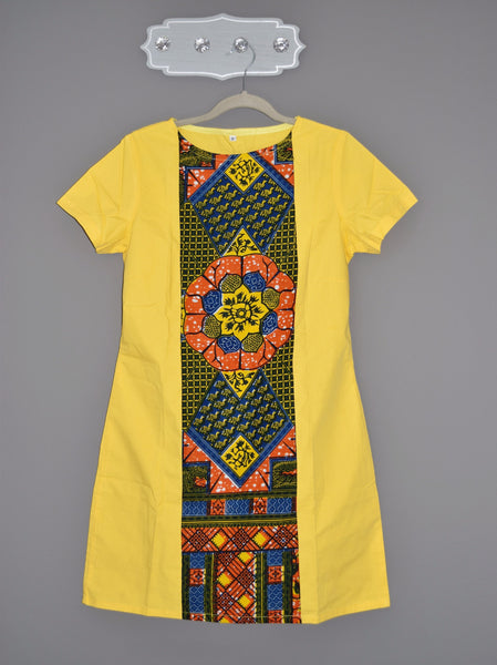 BELLA Ankara middle strip shift dress - yellow