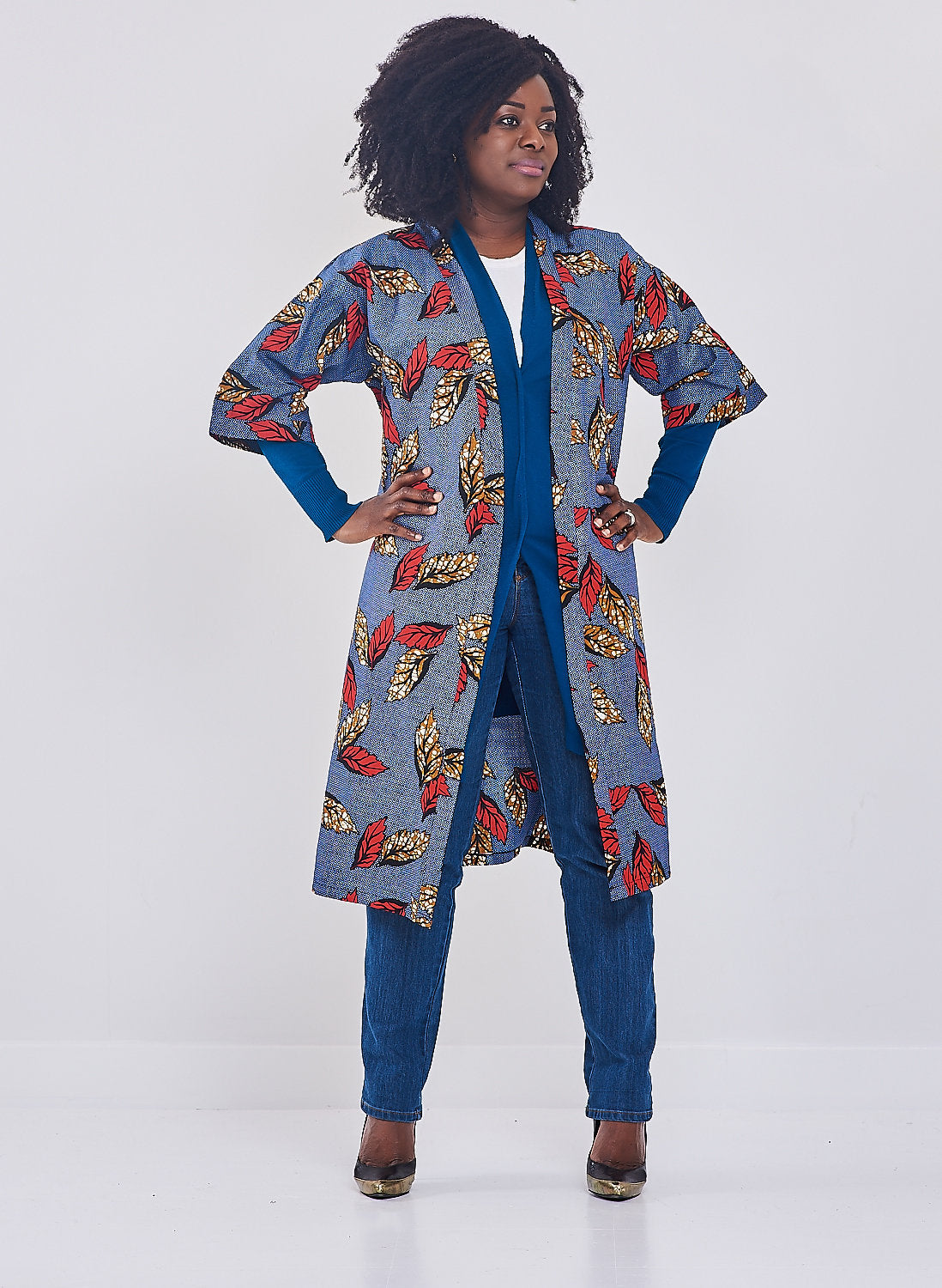 FARA ANKARA Kimono Style coat (Blue with red and brown leaves)