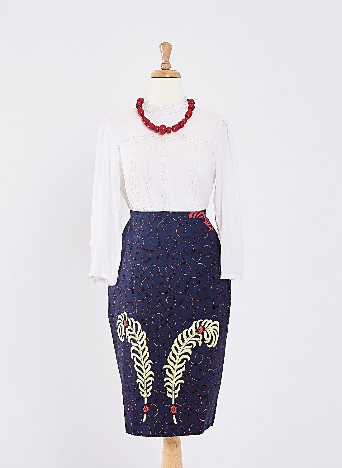 NYA Ankara Pencil skirt - Navy blue with cream feather accents