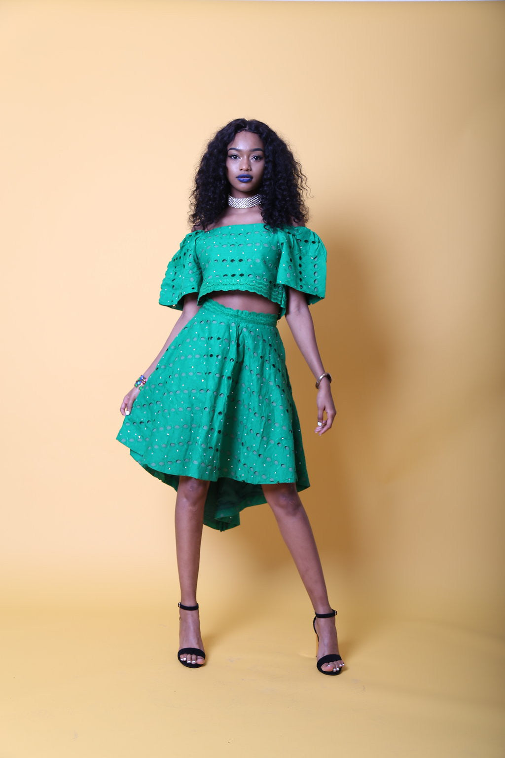 BINTA in Lace off shoulder crop top and skirt set