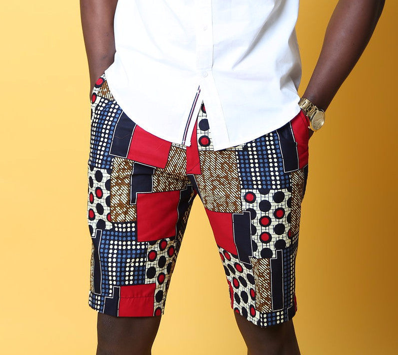 BADA Ankara Bermuda shorts (Red and blue polka patch)