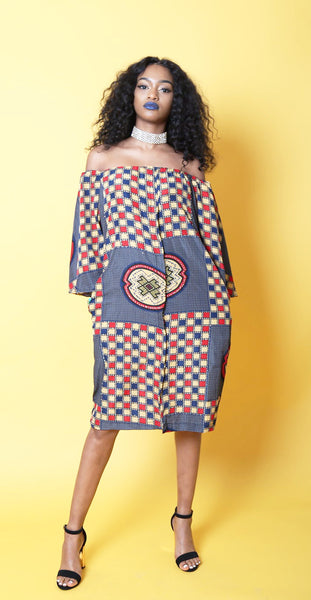 NKEM ankara silk off-shoulder dress with rhinestones