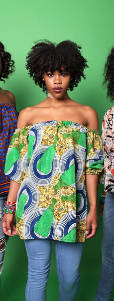 AMA Ankara silk off shoulder long top (Green bottles)