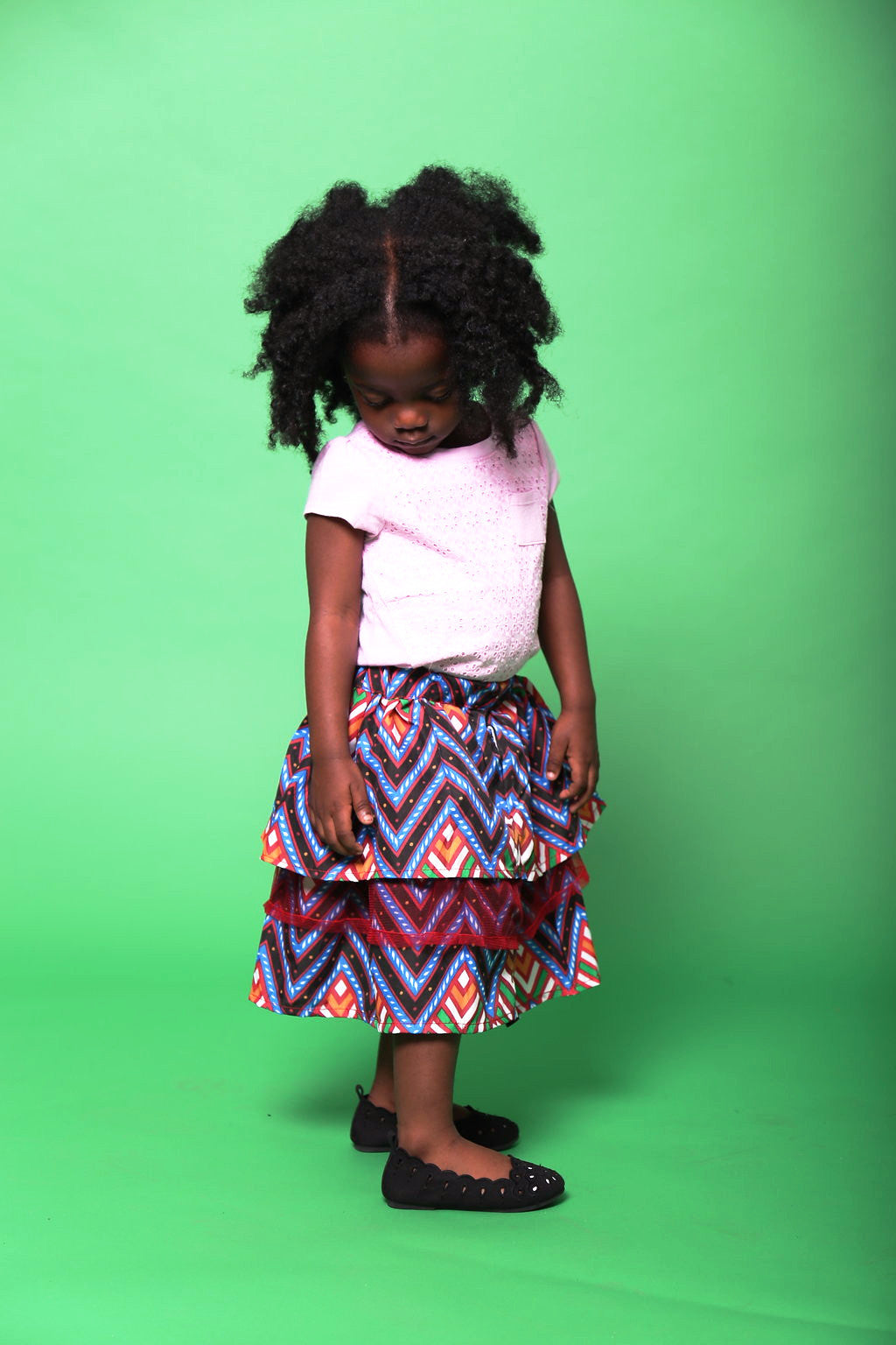 TINU Ankara Silk three tier skirt - Girls