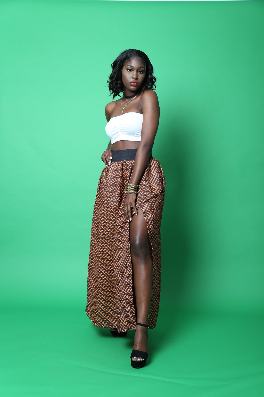 RAYA Ankara silk maxi skirt (Orange and brown)